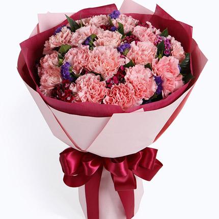 祝您幸福-19枝粉色康乃馨,搭配石竹梅母亲节鲜花