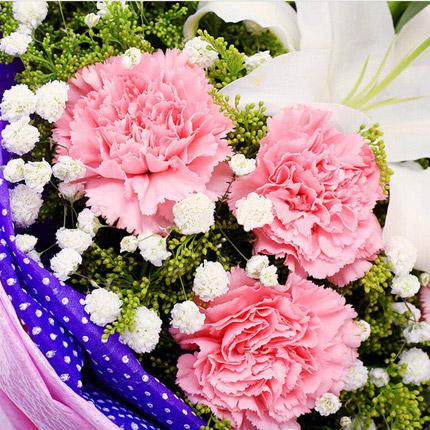 养育之恩-11枝粉色康乃馨,搭香水白百合,满天星送长辈鲜花