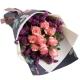 粉红季节-9枝戴安娜粉玫瑰,搭配栀子叶创意花束