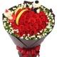 两情相悦-33朵红玫瑰+2只小熊,黄莺满天星点缀爱情表白花束