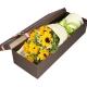 暖暖温情-7枝向日葵,搭配栀子叶、相思梅、桔梗