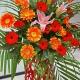鸿运福星-20朵各色扶郎花,1枝多头白百合,搭配绿叶、散尾葵开业花篮