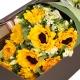 阳光启程-9朵向日葵,搭配相思梅、栀子叶、桔梗