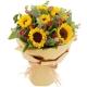 爱您爸爸-6朵向日葵,尤加利叶、栀子叶、钻石玫瑰点缀