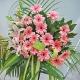 锦绣前程-20朵粉色扶郎+3枝多头粉百合,搭配剑叶、散尾葵、巴西叶