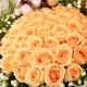 情有独钟-33枝香槟玫瑰+2只小熊,外围黄莺满天星精美花束