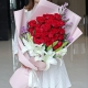 默然相爱-33枝红玫瑰+3枝香水百合,搭配粉色勿忘我