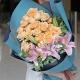 温暖时光-29枝香槟玫瑰+3枝粉百合,搭配叶上花