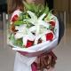 柔情蜜意-11枝红玫瑰+3枝香水百合、搭配黄莺