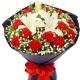幸福聆听-11支红色康乃馨,1支多头百合送父母送老师花束