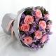 倾城之恋-9枝戴安娜粉玫瑰+紫色勿忘我