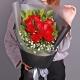 爱的宣言-11枝红玫瑰,配满天星、栀子叶
