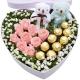 爱情宣言-9朵粉玫瑰,9颗巧克力,2只小熊,配满天星