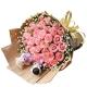 浪漫的事-33枝粉玫瑰+2只可爱小熊,黄莺/满天星丰满