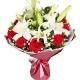 美丽有约-11枝红玫瑰,2枝白百合,搭配黄莺、满天星、栀子叶