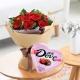 真心真意套餐组合-德芙98g心形礼盒+11枝红玫瑰搭配勿忘我