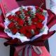 青春永驻-33朵红色康乃馨,间插尤加利叶