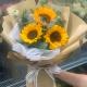 一缕阳光-3朵向日葵,搭配尤加利叶