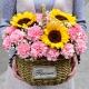 一生守护-33朵粉康乃馨、3朵向日葵,搭配白色满天星